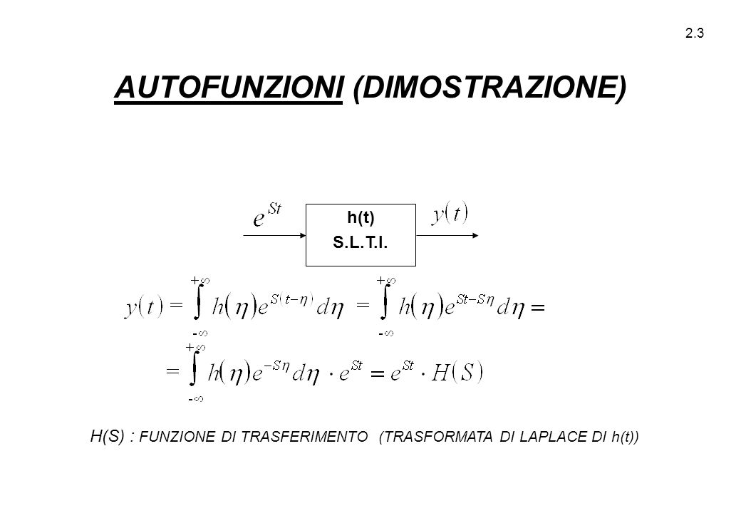 2.3 h(t) S.L.T.I. H(S) : FUNZIONE DI TRASFERIMENTO (TRASFORMATA DI LAPLACE DI h(t)) AUTOFUNZIONI (DIMOSTRAZIONE)