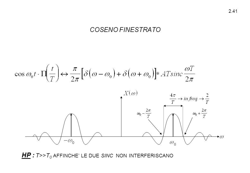 2.41 HP : T>>T 0 AFFINCHE' LE DUE SINC NON INTERFERISCANO COSENO FINESTRATO