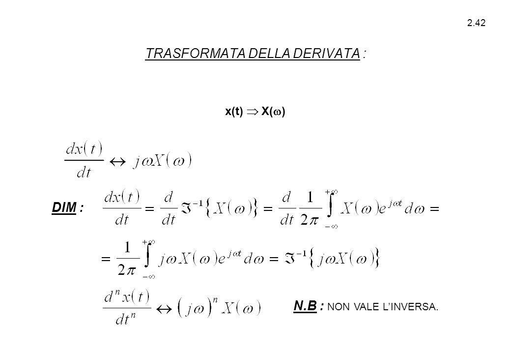 2.42 x(t)  X(  ) DIM : N.B : NON VALE L'INVERSA. TRASFORMATA DELLA DERIVATA :