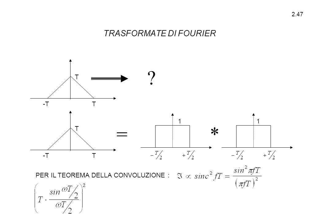 2.47 ? =* PER IL TEOREMA DELLA CONVOLUZIONE : T T -TT T 11 TRASFORMATE DI FOURIER