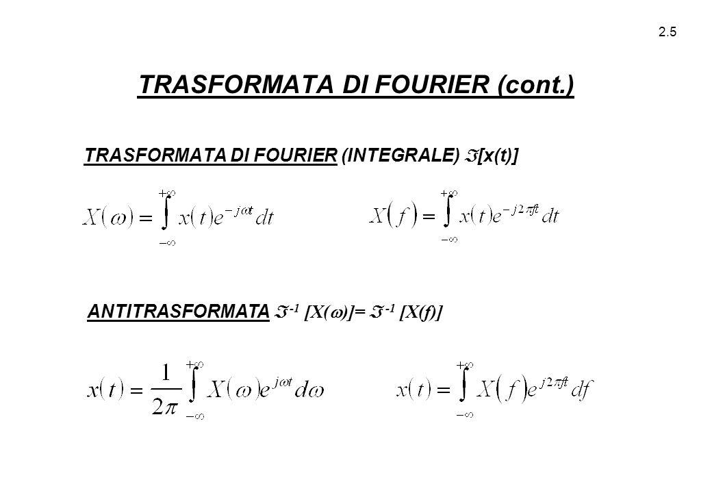2.5 TRASFORMATA DI FOURIER (cont.) TRASFORMATA DI FOURIER (INTEGRALE)  [x(t)] ANTITRASFORMATA  -1 [X(  )]=  -1 [X(f)]