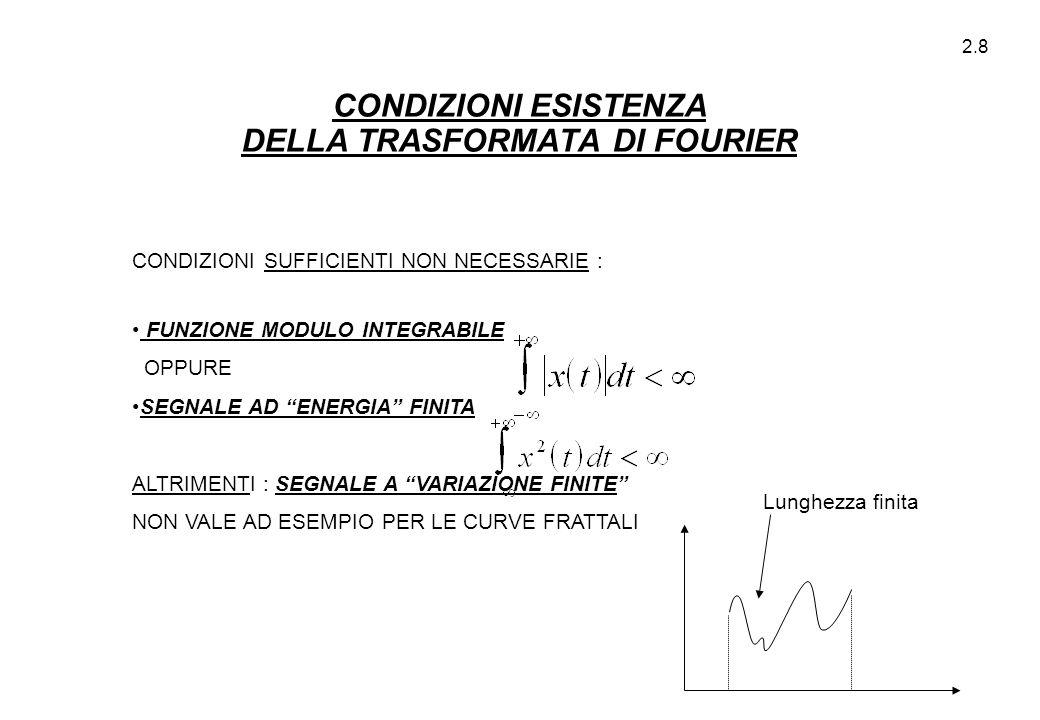 2.9 TRASFORMATA DI FOURIER (PROPRIETA') NOTA : IN GENERALE L' ANDAMENTO NEL TEMPO E NELLE FREQUENZE SONO MOLTO DIVERSI (es.