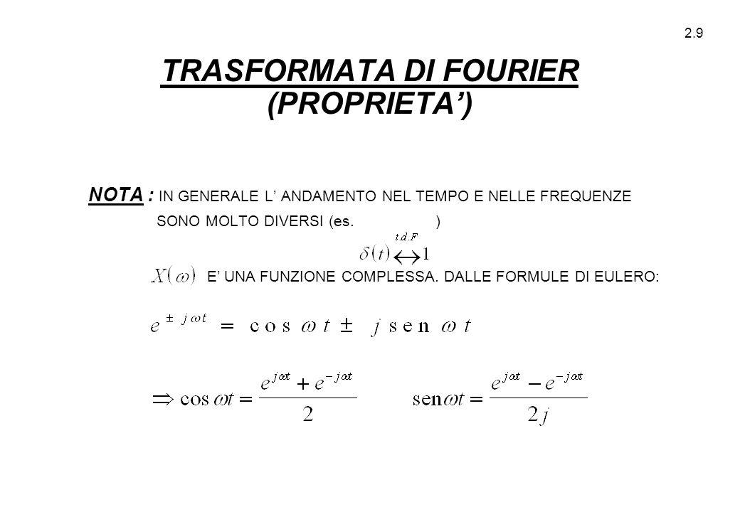 2.9 TRASFORMATA DI FOURIER (PROPRIETA') NOTA : IN GENERALE L' ANDAMENTO NEL TEMPO E NELLE FREQUENZE SONO MOLTO DIVERSI (es. ) E' UNA FUNZIONE COMPLESS