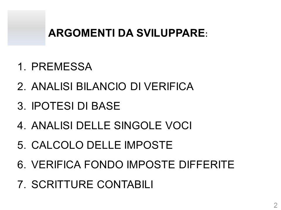 ARGOMENTI DA SVILUPPARE : 1.PREMESSA 2.ANALISI BILANCIO DI VERIFICA 3.IPOTESI DI BASE 4.ANALISI DELLE SINGOLE VOCI 5.CALCOLO DELLE IMPOSTE 6.VERIFICA FONDO IMPOSTE DIFFERITE 7.SCRITTURE CONTABILI 2