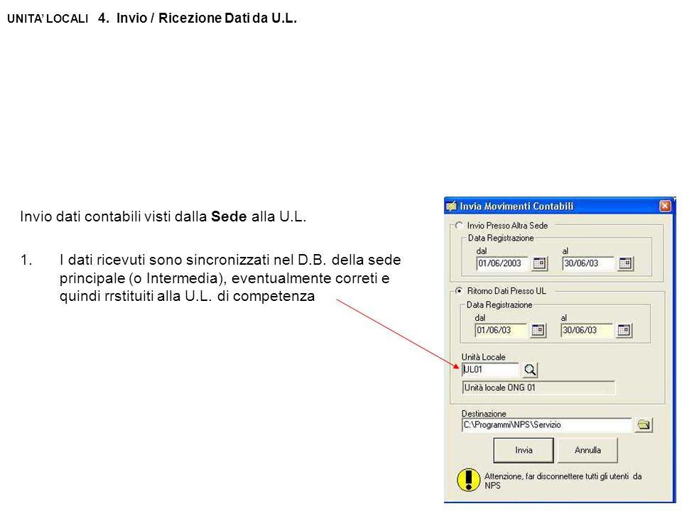 UNITA' LOCALI 4. Invio / Ricezione Dati da U.L. Invio dati contabili visti dalla Sede alla U.L.