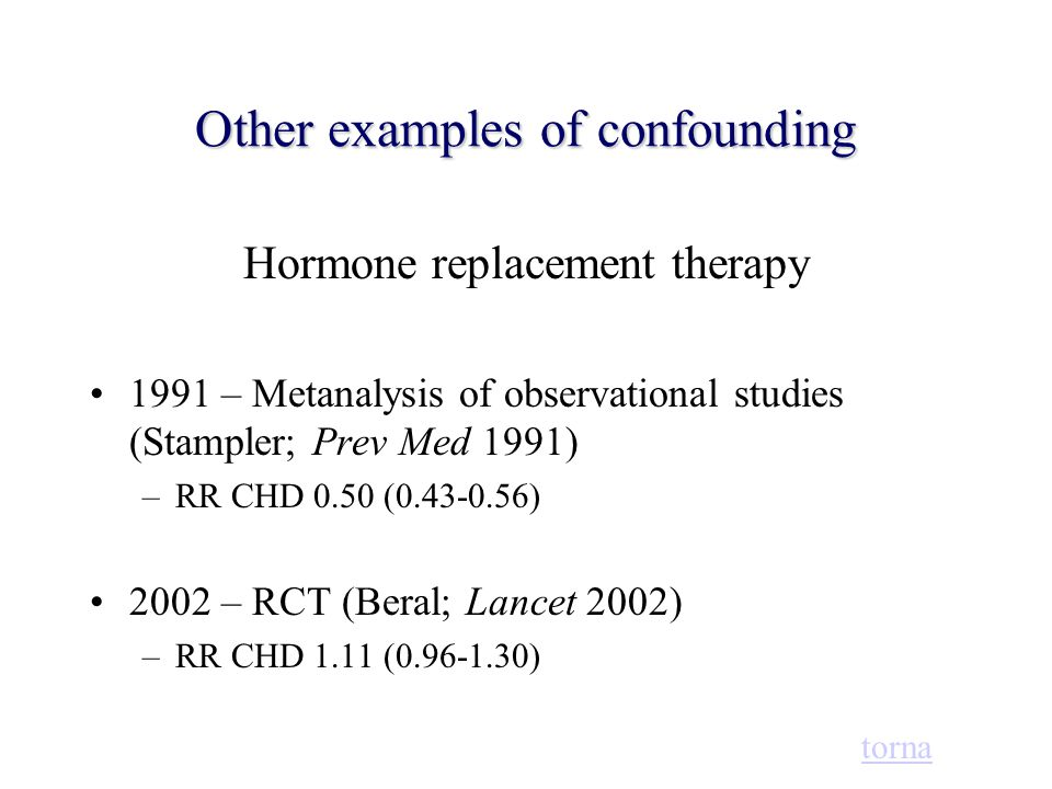 Other examples of confounding Hormone replacement therapy 1991 – Metanalysis of observational studies (Stampler; Prev Med 1991) –RR CHD 0.50 (0.43-0.5