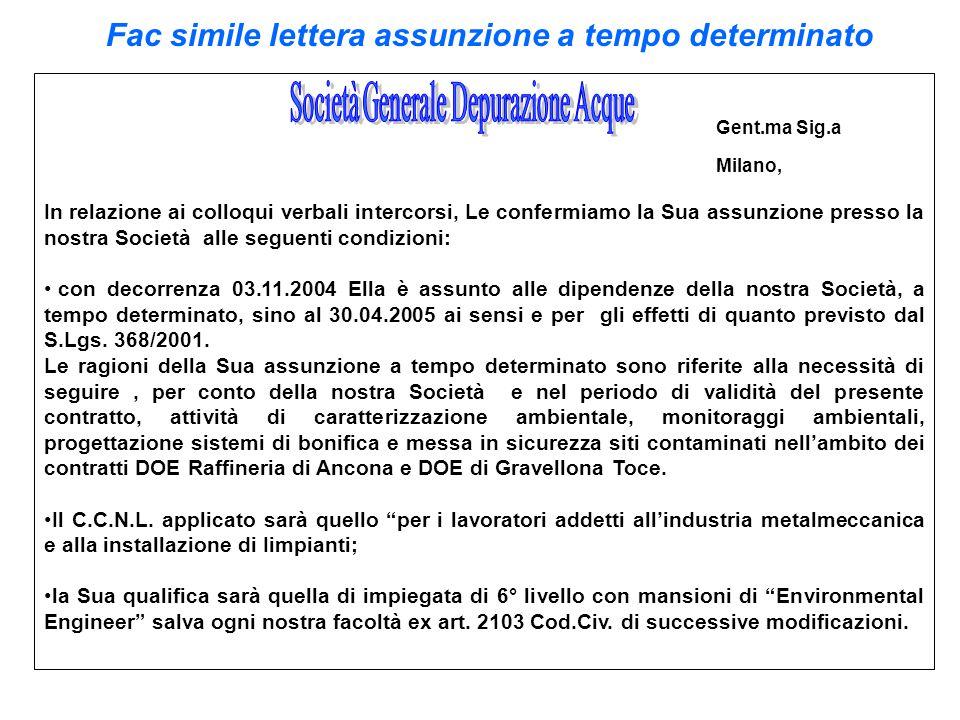 Fac simile lettera assunzione a tempo determinato Gent.ma Sig.a Milano, In relazione ai colloqui verbali intercorsi, Le confermiamo la Sua assunzione