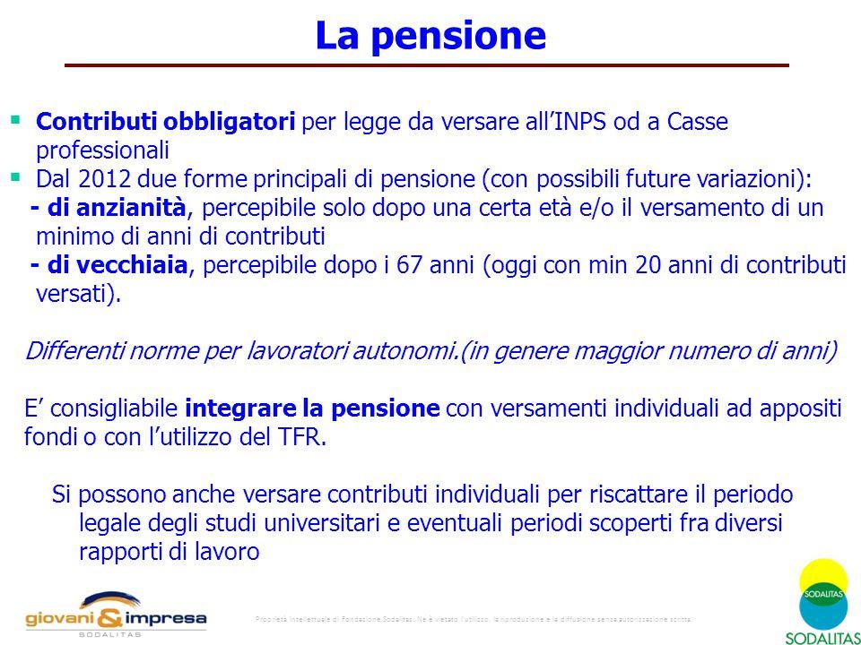  Contributi obbligatori per legge da versare all'INPS od a Casse professionali  Dal 2012 due forme principali di pensione (con possibili future vari