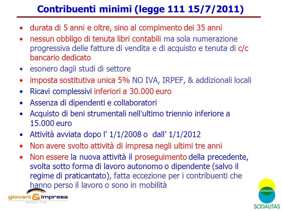 Contribuenti minimi (legge 111 15/7/2011) durata di 5 anni e oltre, sino al compimento dei 35 anni nessun obbligo di tenuta libri contabili ma sola nu