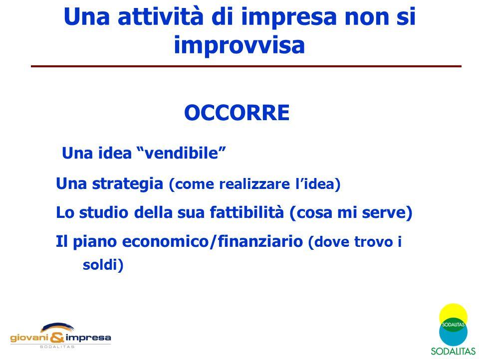 """OCCORRE Una idea """"vendibile"""" Una strategia (come realizzare l'idea) Lo studio della sua fattibilità (cosa mi serve) Il piano economico/finanziario (do"""