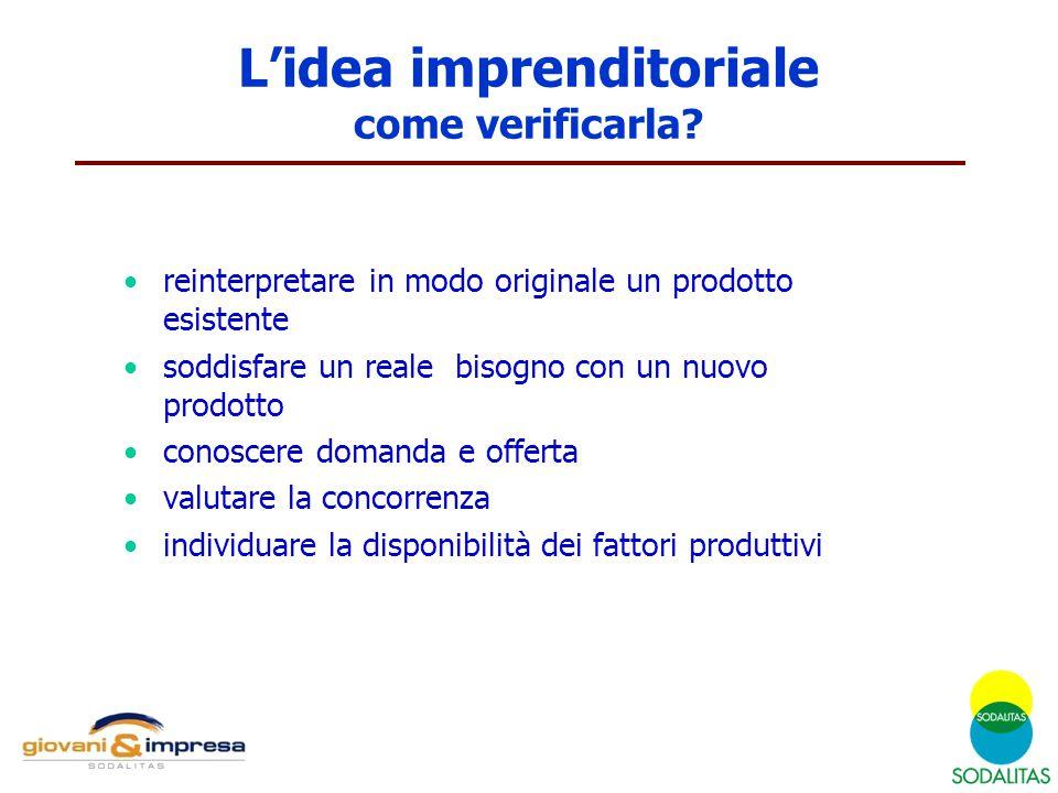 L'idea imprenditoriale come verificarla? reinterpretare in modo originale un prodotto esistente soddisfare un reale bisogno con un nuovo prodotto cono
