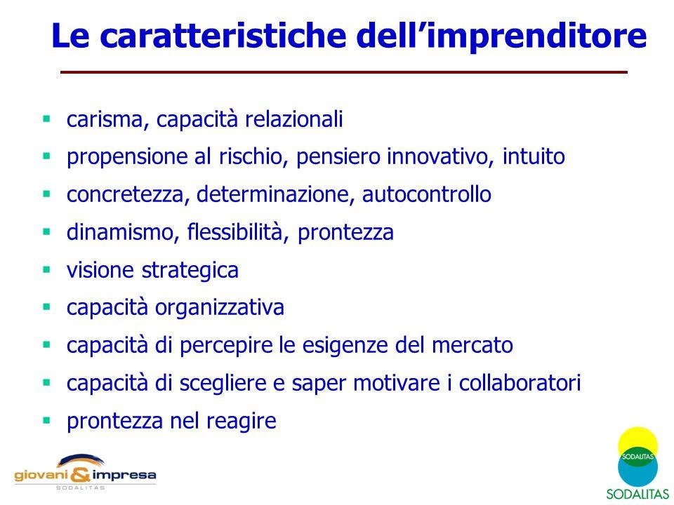  carisma, capacità relazionali  propensione al rischio, pensiero innovativo, intuito  concretezza, determinazione, autocontrollo  dinamismo, fless