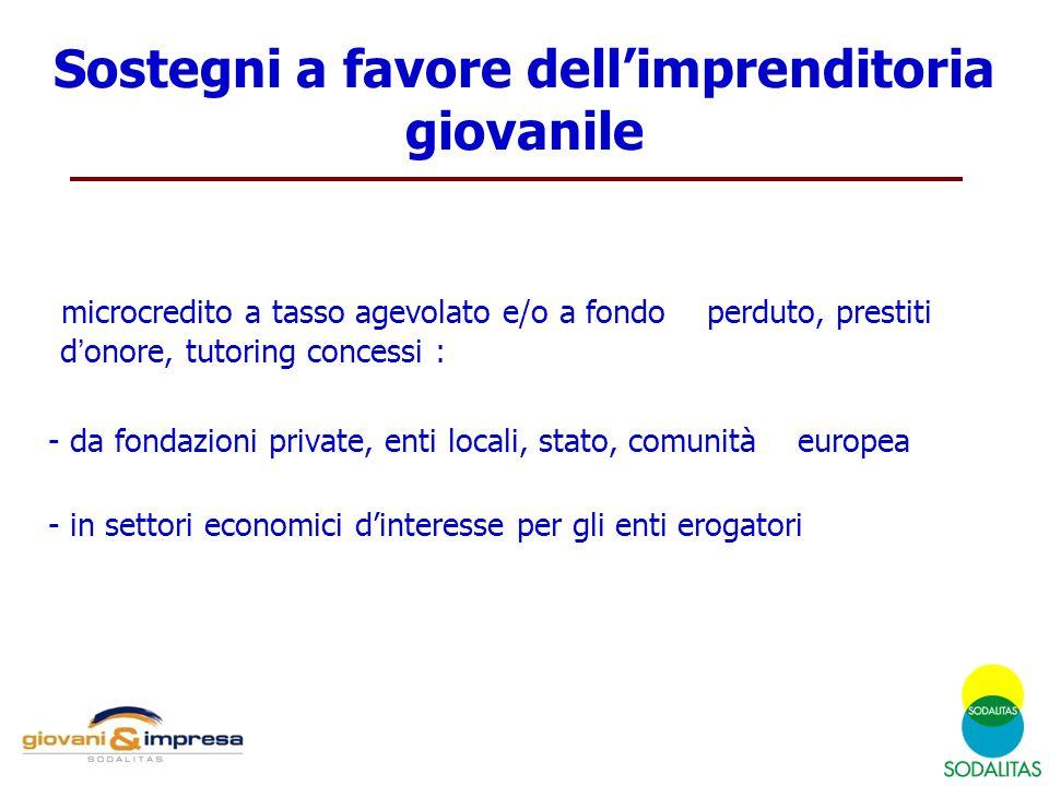microcredito a tasso agevolato e/o a fondo perduto, prestiti d'onore, tutoring concessi : - da fondazioni private, enti locali, stato, comunità europe