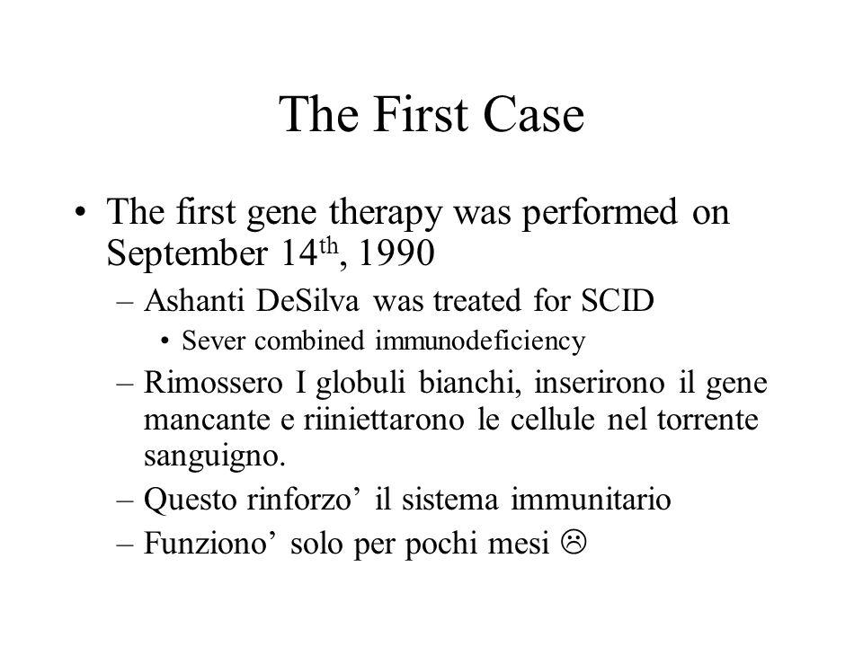 Gene therapy is very much in its infancy L ' ostacolo principale rimane la mancanza di metodi efficaci per inserire DNA nelle cellule.