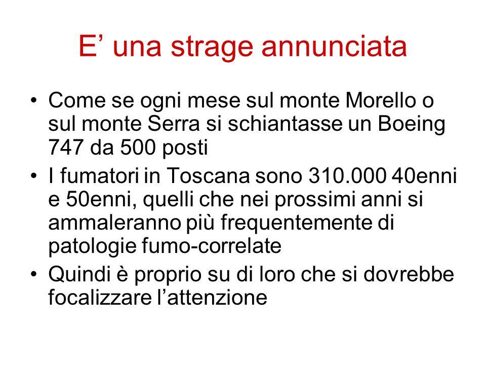 E' una strage annunciata Come se ogni mese sul monte Morello o sul monte Serra si schiantasse un Boeing 747 da 500 posti I fumatori in Toscana sono 31