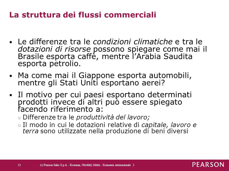 La struttura dei flussi commerciali Le differenze tra le condizioni climatiche e tra le dotazioni di risorse possono spiegare come mai il Brasile esporta caffè, mentre l'Arabia Saudita esporta petrolio.