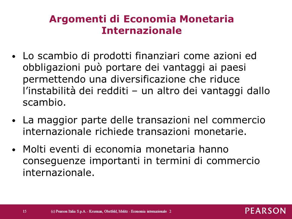 Argomenti di Economia Monetaria Internazionale Lo scambio di prodotti finanziari come azioni ed obbligazioni può portare dei vantaggi ai paesi permettendo una diversificazione che riduce l'instabilità dei redditi – un altro dei vantaggi dallo scambio.