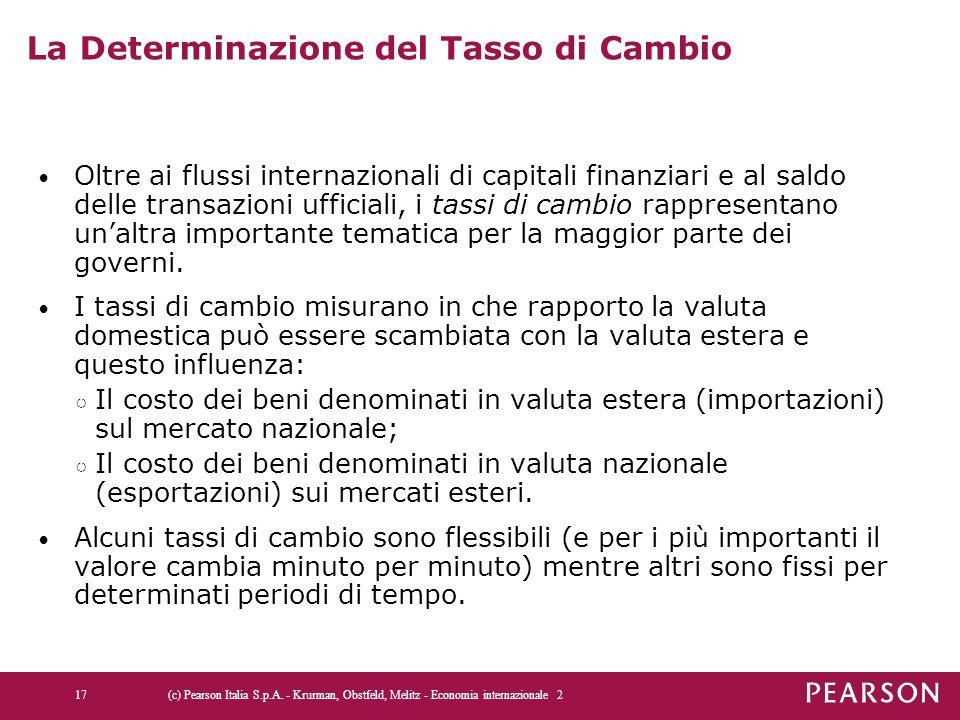 La Determinazione del Tasso di Cambio Oltre ai flussi internazionali di capitali finanziari e al saldo delle transazioni ufficiali, i tassi di cambio rappresentano un'altra importante tematica per la maggior parte dei governi.