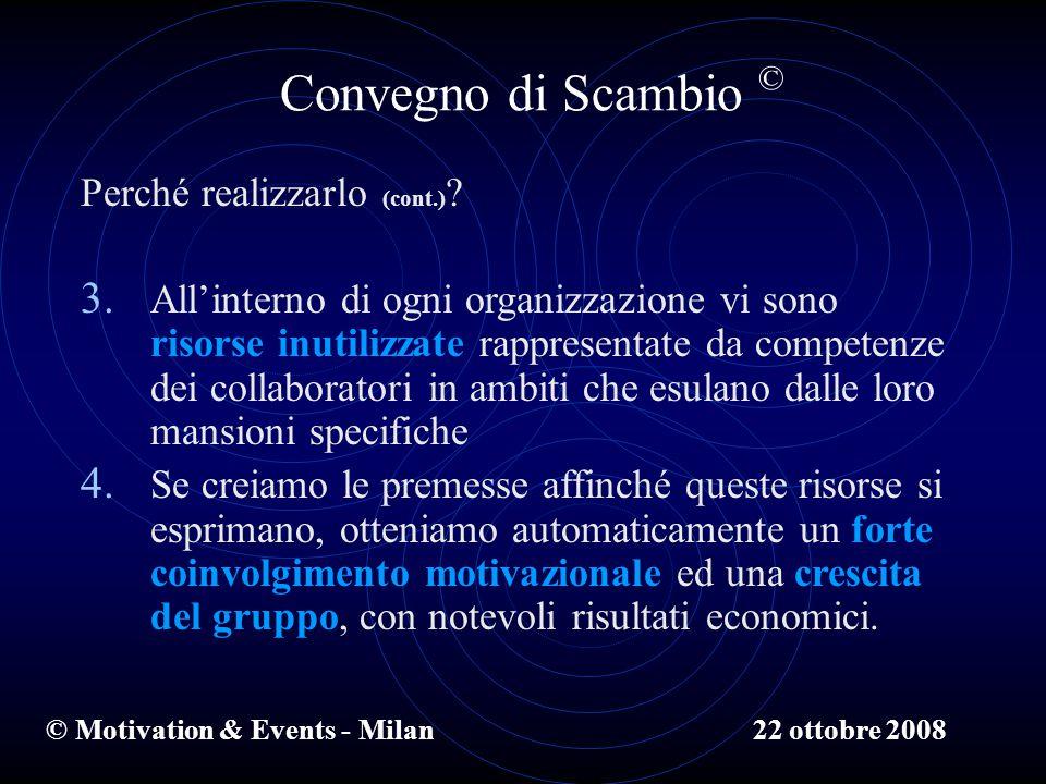 © Motivation & Events - Milan Convegno di Scambio © Perché realizzarlo (cont.) .