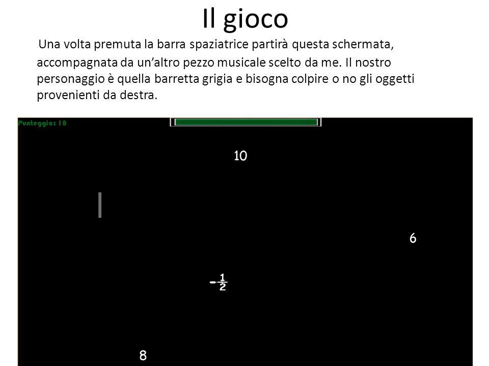 Il gioco Una volta premuta la barra spaziatrice partirà questa schermata, accompagnata da un'altro pezzo musicale scelto da me. Il nostro personaggio