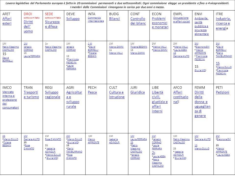 Lavoro legislativo del Parlamento europeo è fatto in 20 commissioni permanenti e due sottocomitati.