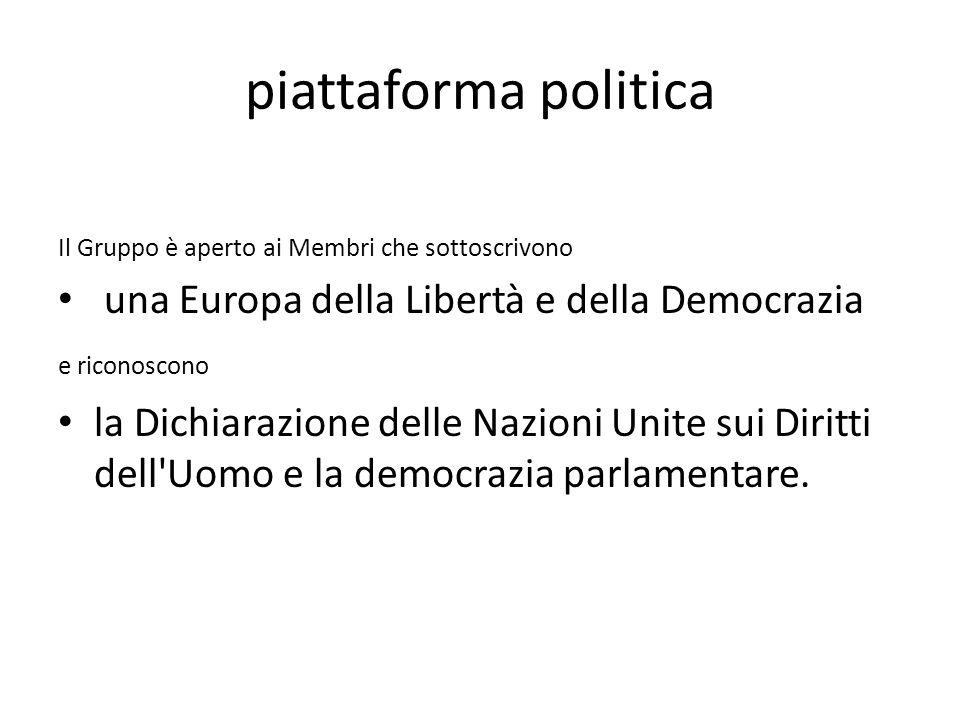 piattaforma politica Il Gruppo è aperto ai Membri che sottoscrivono una Europa della Libertà e della Democrazia e riconoscono la Dichiarazione delle Nazioni Unite sui Diritti dell Uomo e la democrazia parlamentare.