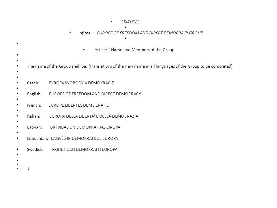 Articolo 10 Codice disciplinare Se un Membro è considerato di aver violato Statuto del Gruppo, può essere temporaneamente sospeso dalla Presidenza del Gruppo o da almeno un quinto dei Membri del gruppo di riflessione per poi essere posto sotto esame nella successiva riunione del Gruppo.
