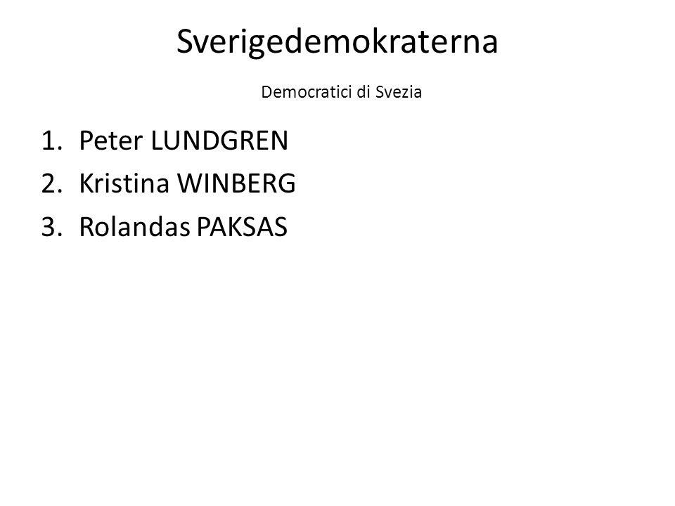 Sverigedemokraterna Democratici di Svezia 1.Peter LUNDGREN 2.Kristina WINBERG 3.Rolandas PAKSAS