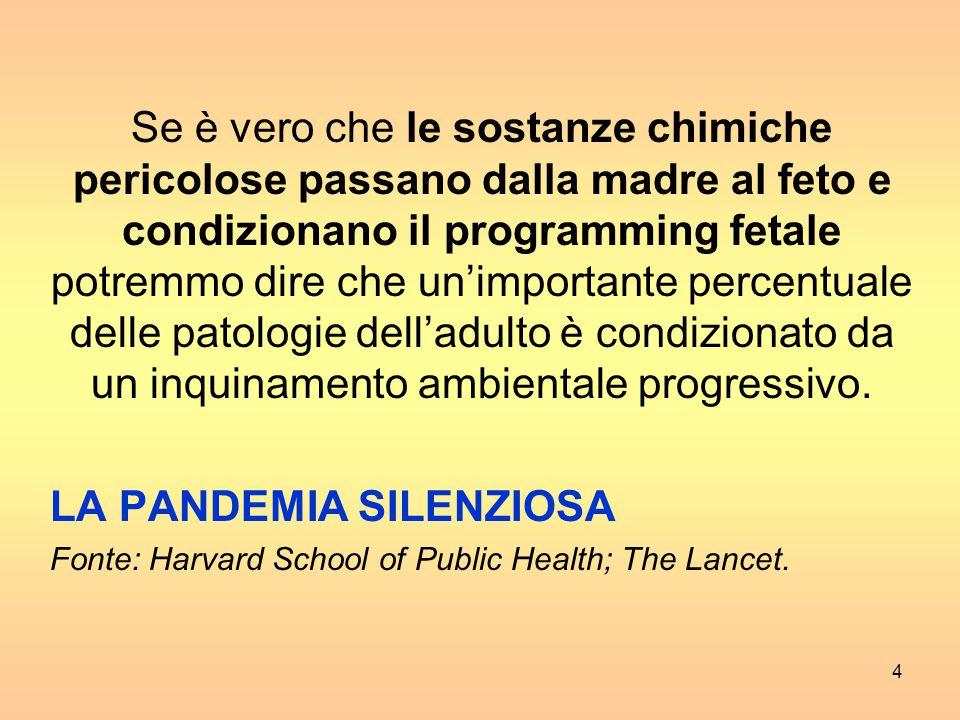 4 Se è vero che le sostanze chimiche pericolose passano dalla madre al feto e condizionano il programming fetale potremmo dire che un'importante percentuale delle patologie dell'adulto è condizionato da un inquinamento ambientale progressivo.
