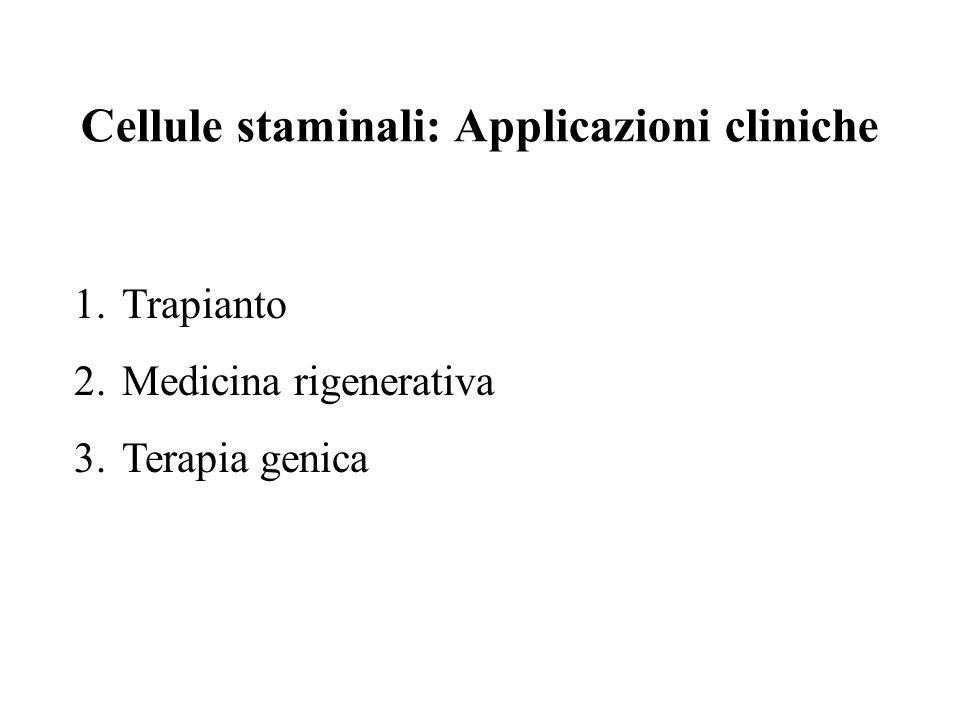 Cellule staminali: Applicazioni cliniche 1.Trapianto 2.Medicina rigenerativa 3.Terapia genica