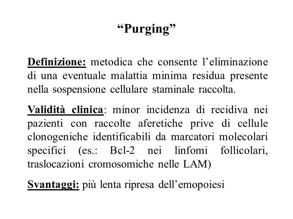 """""""Purging"""" Definizione: metodica che consente l'eliminazione di una eventuale malattia minima residua presente nella sospensione cellulare staminale ra"""