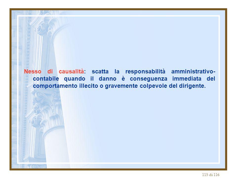 115 di 116 Nesso di causalità: scatta la responsabilità amministrativo- contabile quando il danno è conseguenza immediata del comportamento illecito o