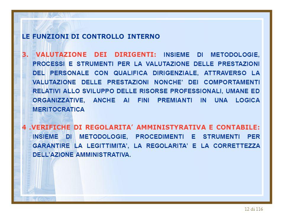 12 di 116 LE FUNZIONI DI CONTROLLO INTERNO 3. VALUTAZIONE DEI DIRIGENTI: INSIEME DI METODOLOGIE, PROCESSI E STRUMENTI PER LA VALUTAZIONE DELLE PRESTAZ