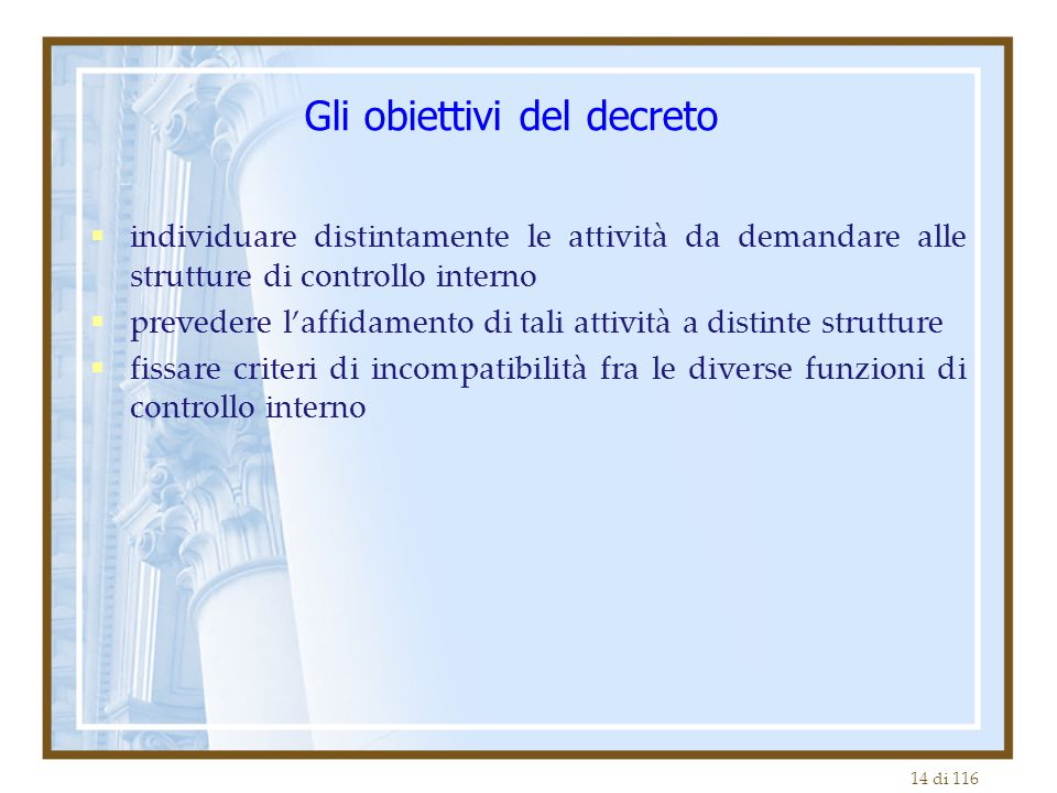 14 di 116 Gli obiettivi del decreto  individuare distintamente le attività da demandare alle strutture di controllo interno  prevedere l'affidamento di tali attività a distinte strutture  fissare criteri di incompatibilità fra le diverse funzioni di controllo interno