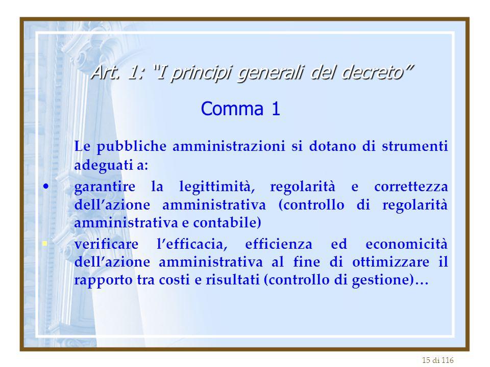 15 di 116 Le pubbliche amministrazioni si dotano di strumenti adeguati a: garantire la legittimità, regolarità e correttezza dell'azione amministrativ