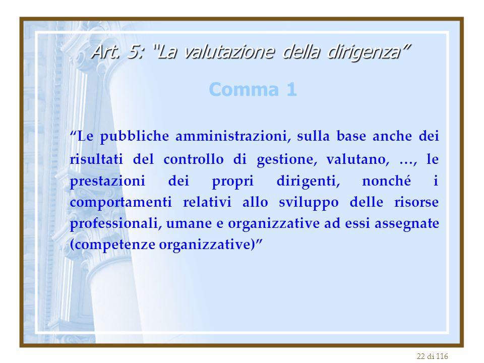 """22 di 116 """"Le pubbliche amministrazioni, sulla base anche dei risultati del controllo di gestione, valutano, …, le prestazioni dei propri dirigenti, n"""