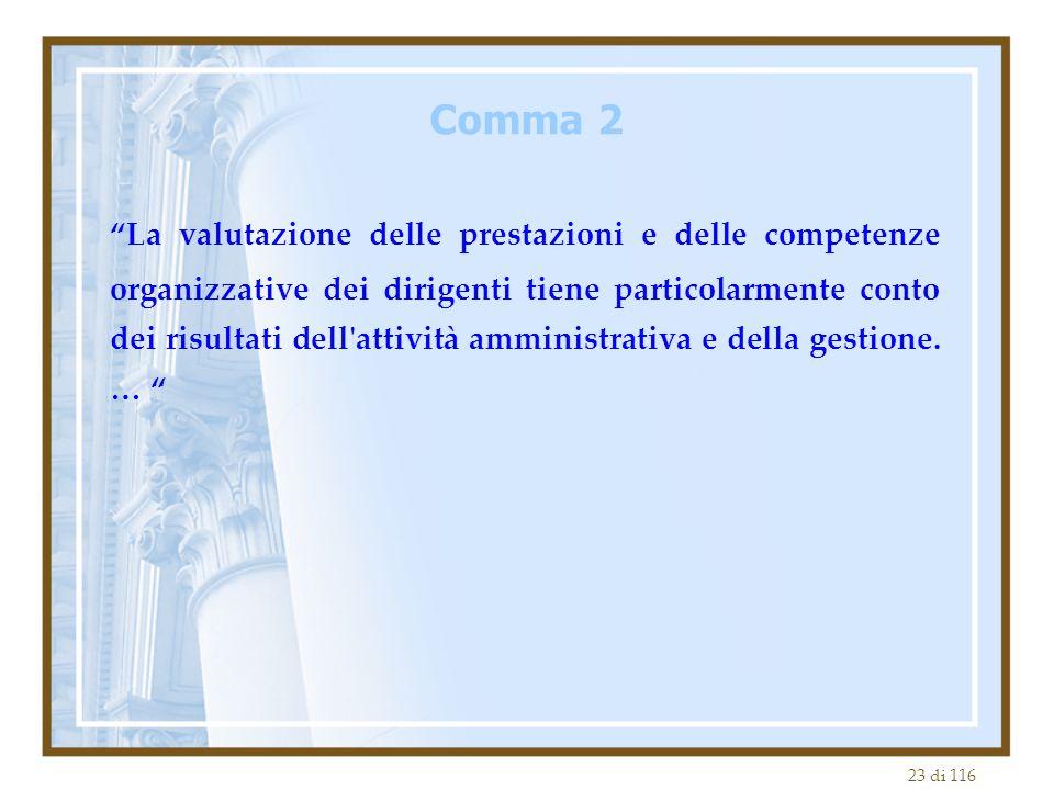 """23 di 116 """"La valutazione delle prestazioni e delle competenze organizzative dei dirigenti tiene particolarmente conto dei risultati dell'attività amm"""