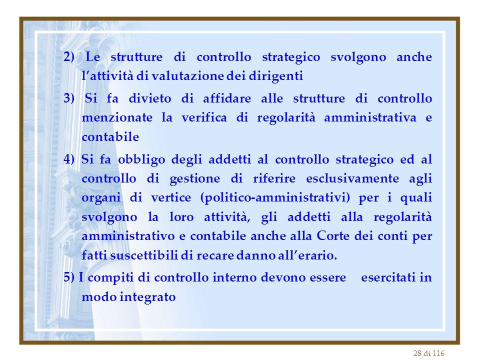 28 di 116 2) Le strutture di controllo strategico svolgono anche l'attività di valutazione dei dirigenti 3) Si fa divieto di affidare alle strutture d
