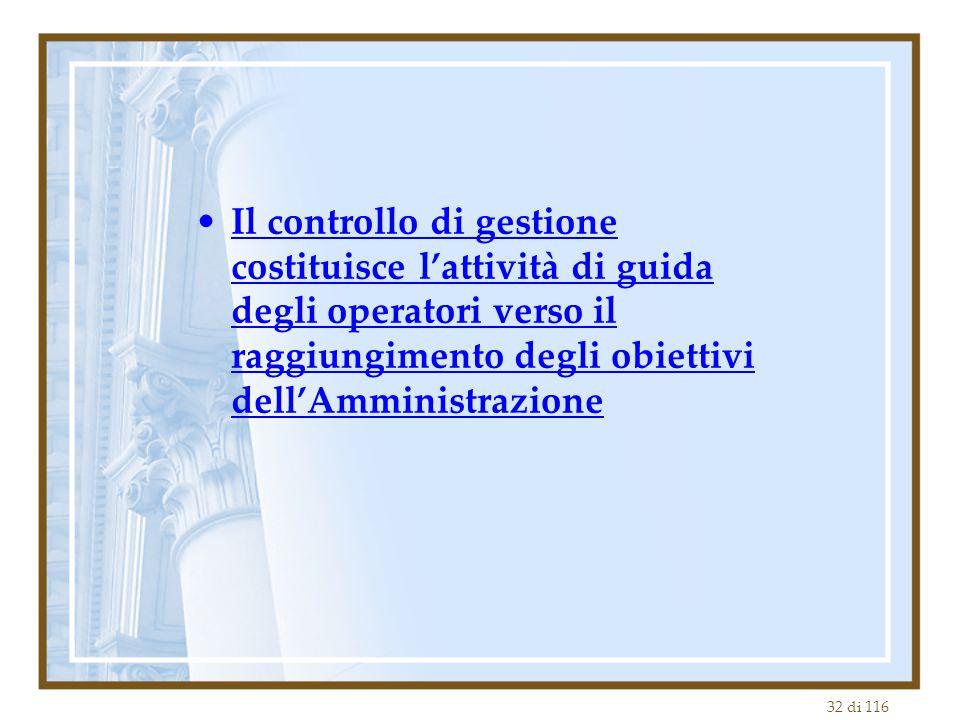 32 di 116 Il controllo di gestione costituisce l'attività di guida degli operatori verso il raggiungimento degli obiettivi dell'Amministrazione
