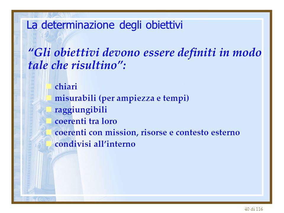 40 di 116 La determinazione degli obiettivi Gli obiettivi devono essere definiti in modo tale che risultino : chiari misurabili (per ampiezza e tempi) raggiungibili coerenti tra loro coerenti con mission, risorse e contesto esterno condivisi all'interno