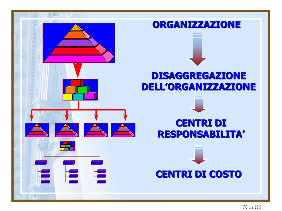 50 di 116 ORGANIZZAZIONE DISAGGREGAZIONE DELL'ORGANIZZAZIONE CENTRI DI RESPONSABILITA' CENTRI DI COSTO