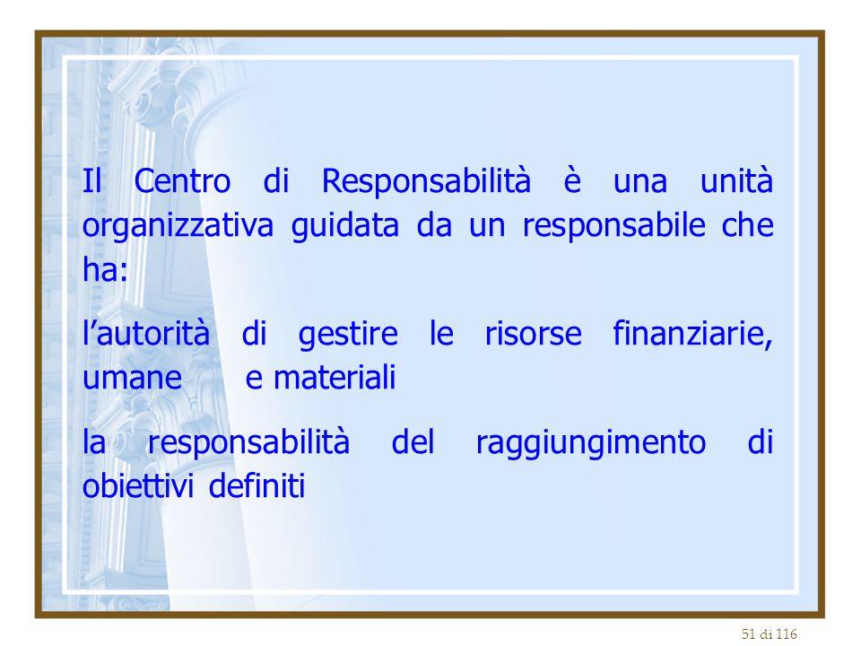 51 di 116 Il Centro di Responsabilità è una unità organizzativa guidata da un responsabile che ha: l'autorità di gestire le risorse finanziarie, umane e materiali la responsabilità del raggiungimento di obiettivi definiti