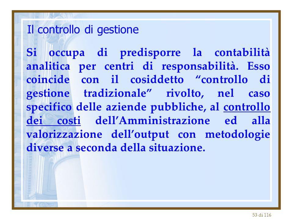 53 di 116 Il controllo di gestione Si occupa di predisporre la contabilità analitica per centri di responsabilità.