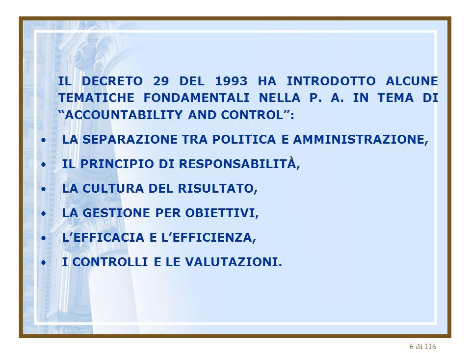 6 di 116 IL DECRETO 29 DEL 1993 HA INTRODOTTO ALCUNE TEMATICHE FONDAMENTALI NELLA P.