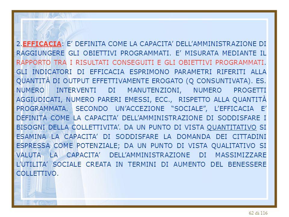 62 di 116 2.EFFICACIA: E' DEFINITA COME LA CAPACITA' DELL'AMMINISTRAZIONE DI RAGGIUNGERE GLI OBIETTIVI PROGRAMMATI.