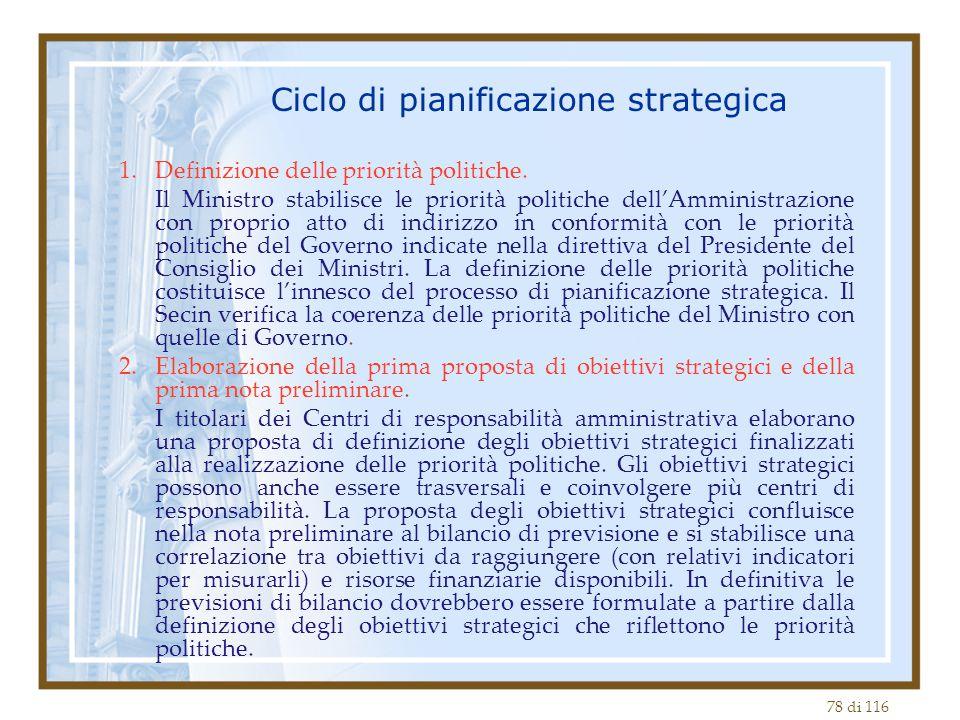 78 di 116 Ciclo di pianificazione strategica 1.Definizione delle priorità politiche. Il Ministro stabilisce le priorità politiche dell'Amministrazione