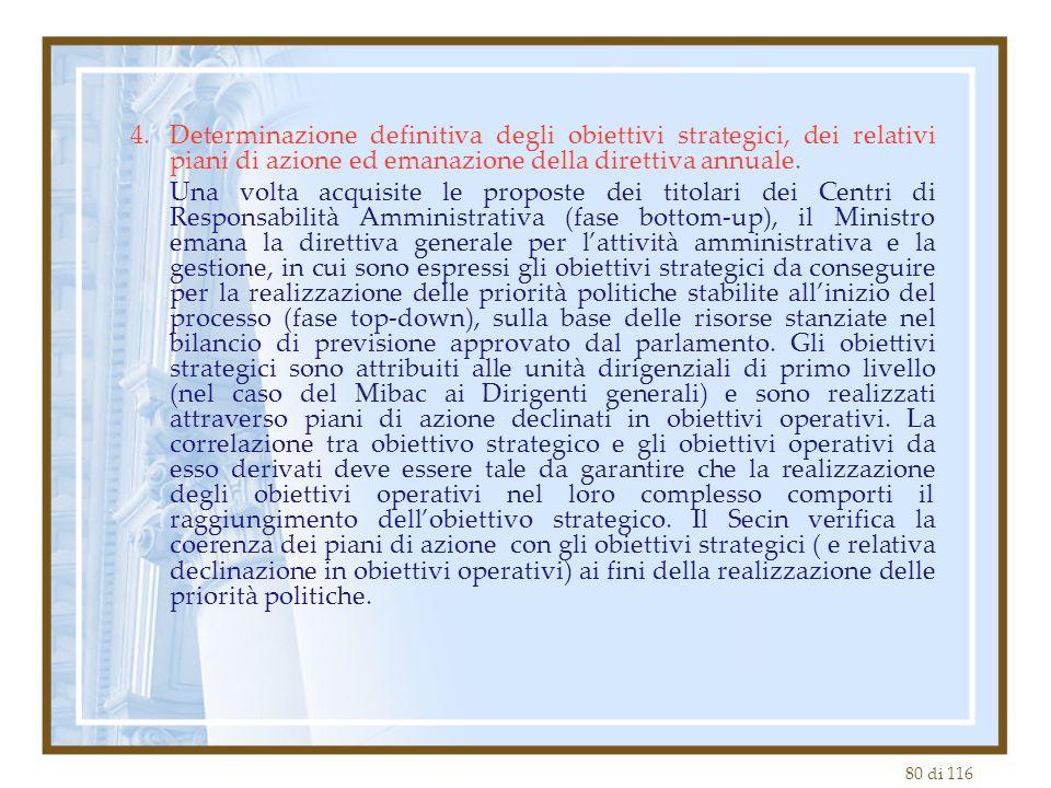 80 di 116 4.Determinazione definitiva degli obiettivi strategici, dei relativi piani di azione ed emanazione della direttiva annuale. Una volta acquis