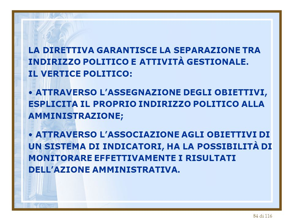 84 di 116 LA DIRETTIVA GARANTISCE LA SEPARAZIONE TRA INDIRIZZO POLITICO E ATTIVITÀ GESTIONALE. IL VERTICE POLITICO: ATTRAVERSO L'ASSEGNAZIONE DEGLI OB