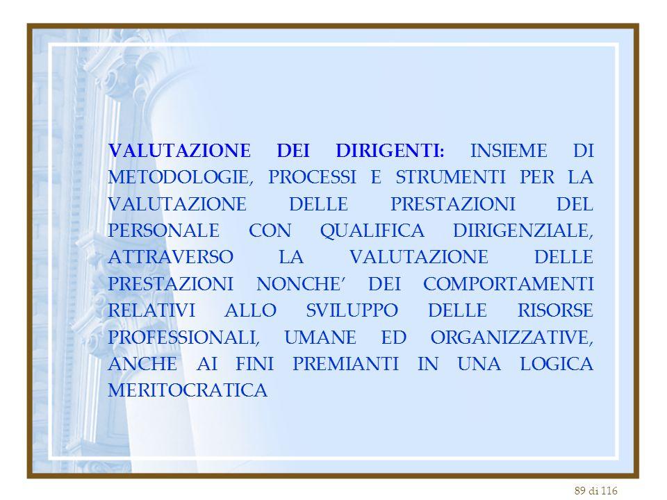 89 di 116 VALUTAZIONE DEI DIRIGENTI: INSIEME DI METODOLOGIE, PROCESSI E STRUMENTI PER LA VALUTAZIONE DELLE PRESTAZIONI DEL PERSONALE CON QUALIFICA DIR