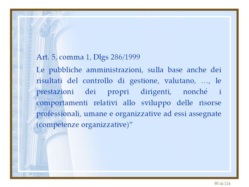 90 di 116 Art. 5, comma 1, Dlgs 286/1999 Le pubbliche amministrazioni, sulla base anche dei risultati del controllo di gestione, valutano, …, le prest